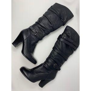 Steve Madden Hunny Black Leather Boots, Sz 7